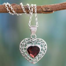 garnet and silver heart pendant necklace mughal romance