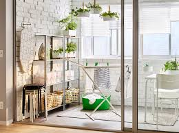 laundry furniture. A Balcony With Shelving Units In Galvanised Steel And White Drying Rack Two Fold Laundry Furniture