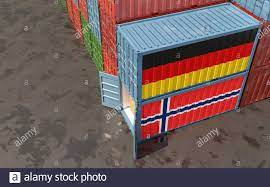 Container merci con bandiera nazionale Norvegia e Germania. Rendering 3D  Foto stock - Alamy
