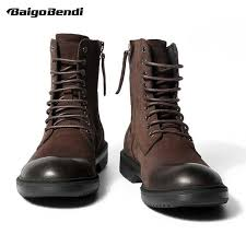 Recommend !!! New <b>Mens Genuine</b> Leather <b>Boots</b> Round Toe Lace ...