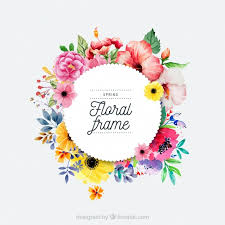 watercolor spring fl frame free vector