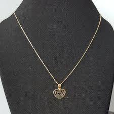 details about 9ct yellow gold flat heart pendant chain necklace 0 46g new wife mum xmas gift