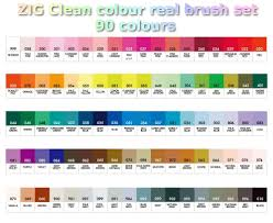 13 Organized Zig Clean Color Real Brush Markers Color Chart