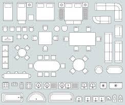 ラインの家具アイコンを含むトップビューインテリア ベクター画像