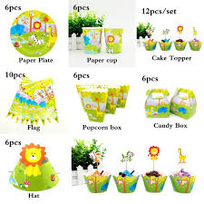 Jungle Theme Birthday Invitations 2019 For 12kids Jungle Safari Animals Theme Birthday Party Supplie Tableware Set Plate Straw Glass Candybox Invitation Ect From Narciss 25 45