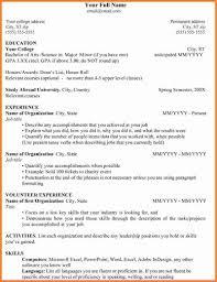 College Student Resume Internship Sample Resume For College Student