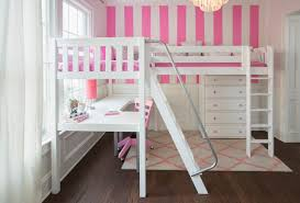 l shaped white stained wooden loft bed with two ladder using silver metal handrail built in