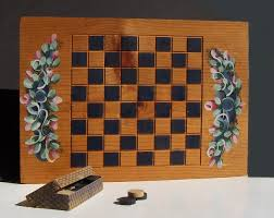 Vintage Wooden Board Games Hand Made Checkerboard and Old Wooden Checkers Primping Your 65