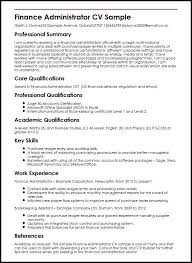 Finance Administrator CV Sample