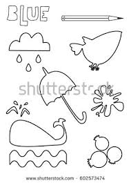 Small Picture Coloring Page Blue Things Set Single Stock Vector 602573474