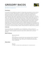 Resume Play New Tennis Instructor Resume Samples VisualCV Resume Samples Database