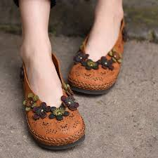 artmu fashion flower sweet women shoes handmade genuine leather shoes hollow cow leather soft shoewoman loafers