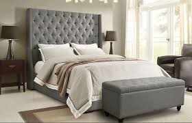 Alder Tall Headboard Bed Grey Linen