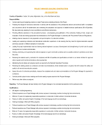Bank Manager Job Description Sample Project Manager Job Description 9 Examples In Pdf