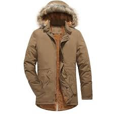 loldeal mens hooded faux fur lined warm coats outwear winter jackets washed and velvet plus cotton