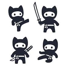 ninja clipart black and white.  And Cute Cartoon Ninja Cat Set Adorable Vector Black And White Drawings In  Simple Modern Japanese For Ninja Clipart Black And White B