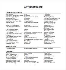 beginning acting resume samples beginner acting resume sample