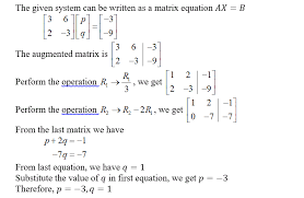 solve the system 3p 6q 3 2p 3q 9