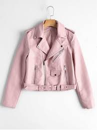womens zip up belted faux leather biker jacket light pink m