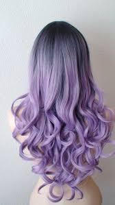Dark Roots Pastel Lavender Wig Light Purple Long Curly Fashion