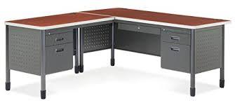 steel office desk. OFM Mesa Series L-Shaped Steel Office Desk With Laminate Top, Left Pedestal Return