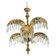 mid century six arm brass palm leaf crystal chandelier for id f light antique french brass crystal chandelier