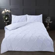 highams pintuck super king duvet cover set white