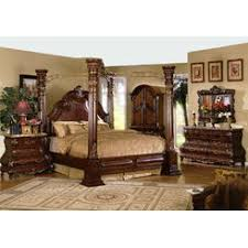 Mc Ferran 5 pc princess anne ii collection cherry brown wood finish queen 4  poster canopy