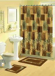 brown and green bathroom accessories. Perfect Brown And Green Shower Curtains Inspiration With Buy Leaf 15 Piece Bathroom Set 2 Rugsmats 1 Accessories N