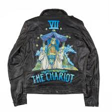 hand painted distressed biker jacket the chariot small