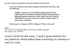 Solved I Need A Hook For This Essay I Need A Good Attent