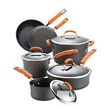 rachael ray pan set. Exellent Ray Rachael Ray HardAnodized Nonstick 10Piece Cookware Set Gray With Orange  Handles To Pan Set