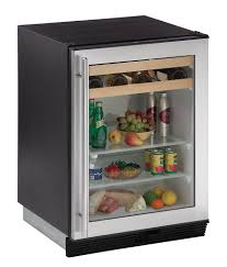 portable modern beverage center with black color also single glass door in white frame plus chrome handle door