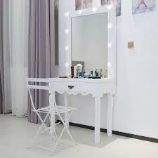 Details About Modern Elegant Vanity Makeup Mirror Stool Drawer Wood Dressing Table Light Bulbs