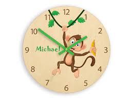 kids wall clock monkey with
