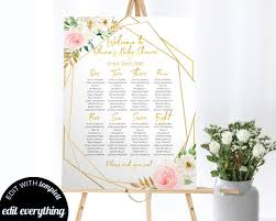 Printable Shower Chart Geometric Baby Shower Seating Chart Printable Seating Chart Baby Shower Seating Template Editable Seating Chart Printable Shower Seating