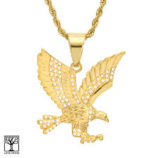 details about men s stainless steel gold silver eagle pendant 24 chain necklace scp 893