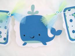 Baby Shower Banner Baby Shower Banner Whale Banner White Blue And Mint Green