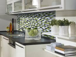 elegant kitchen with glass green accent mosaic smart tile backsplash stainless steel cabinet door