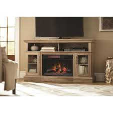 home decorators collection hawkings point 59 5 in rustic tv stand electric fireplace in pine