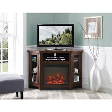 walker edison furniture company traditional brown fireplace corner fireplace entertainment center hd48fpcrtb the home depot