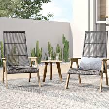mistana largent 3 piece teak complete patio set reviews wayfair
