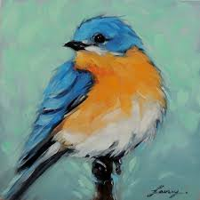 bluebird 5x5 inch original oil painting of a bluebird