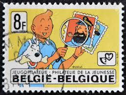 Belgiã Circa 1979 Een Stempel Gedrukt In Belgiã Toont De Stripfiguur Kuifje En Zijn Hond Bobby En Kapitein Haddock Circa 1979