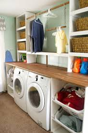 This is how you Laundry Room! Built-in-Laundry-Unit -with-Shelving-Seesaws-and-Sawhorses-on-Remodelaholic.