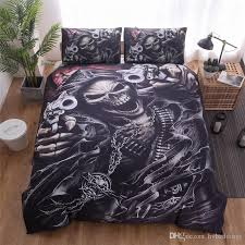 skulls bedding set 3d gothic skull warrior pattern duvet cover pillowcases black color bedlinen twin queen king size 2 bedding king duvet