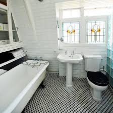 modelled by model the bathroom follows the same retro style with a cast
