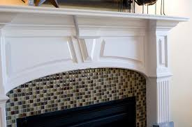 subway tile fireplace glass