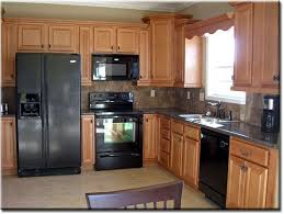 kitchen color ideas with oak cabinets and black appliances. Oak Cabinets W Granite Counters And Stone Tile Backsplash, Neutral Floor . Update Our Current Kitchen Color Ideas With Black Appliances T