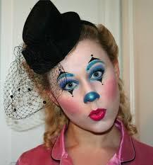 clown makeup eye shadow blue purple lipstick of black hat